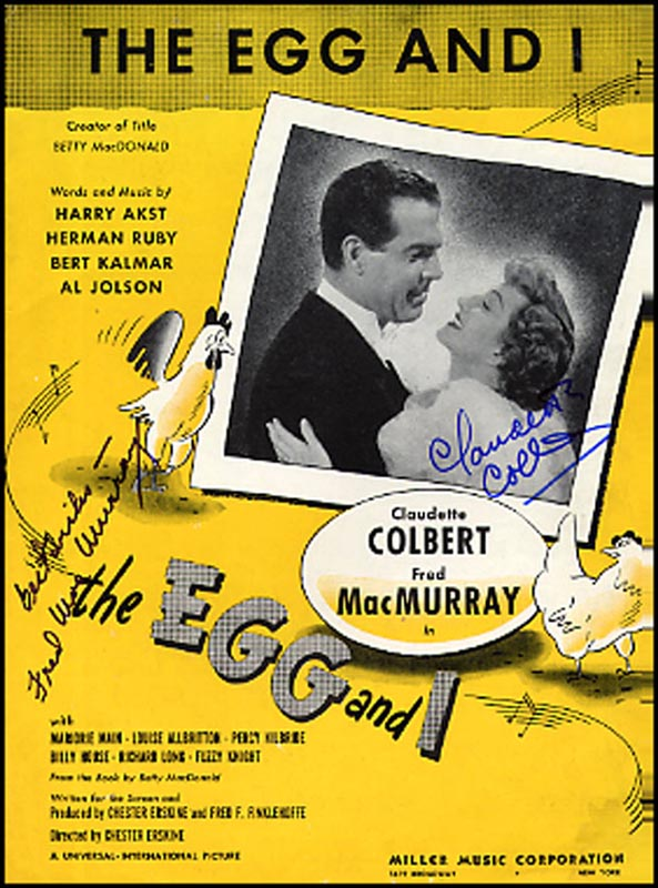 Image 1 for The Egg And I Movie Cast - Sheet Music Signed Circa 1947 co-signed by: Claudette Colbert, Fred Macmurray - HFSID 265627