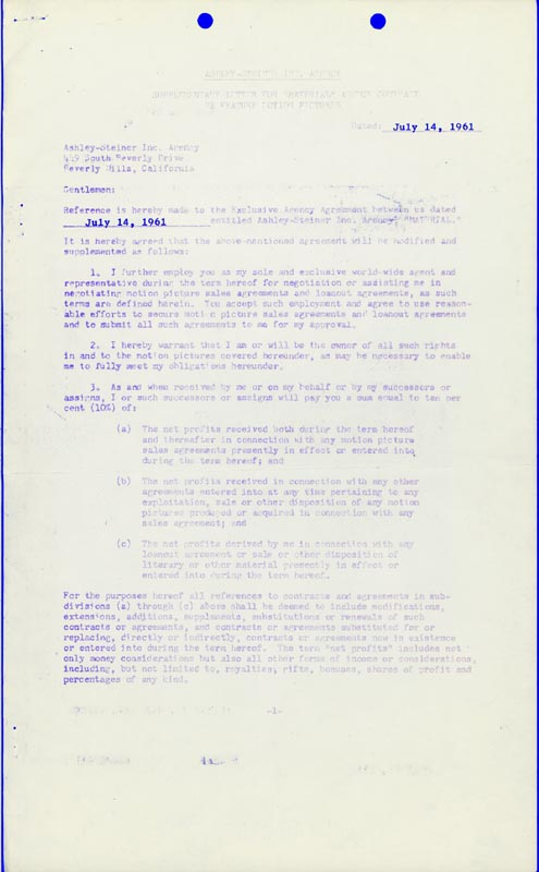 Image 3 for Gene Roddenberry - Document Signed 07/14/1961 - HFSID 265641