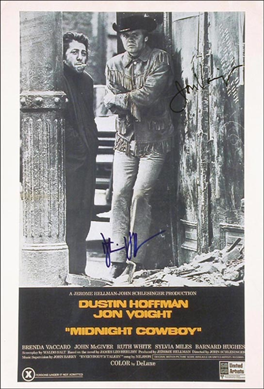 Image 1 for Midnight Cowboy Movie Cast - Autographed Signed Poster co-signed by: Dustin Hoffman, Jon Voight - HFSID 265646