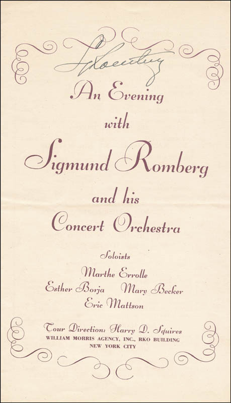 Image 1 for Sigmund Romberg - Program Signed Circa 1943 - HFSID 265681