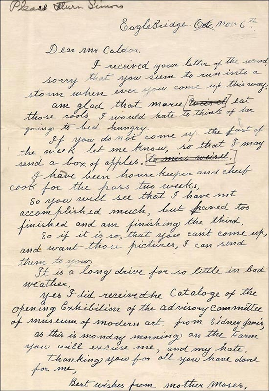Image 1 for Grandma Moses - Autograph Letter Signed 11/6 - HFSID 265770