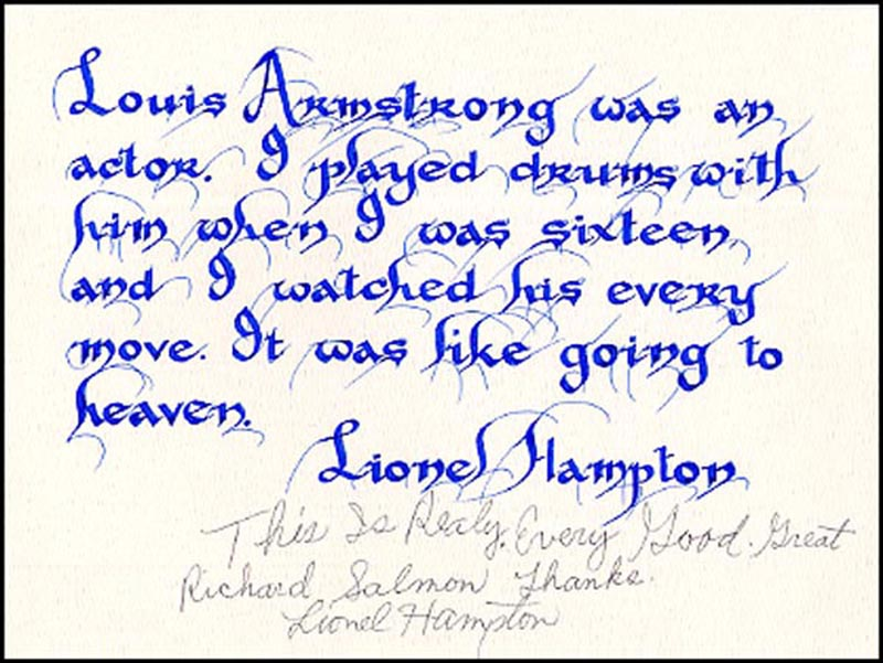 Image 1 for Lionel Hampton - Inscribed Quotation Signed - HFSID 265777