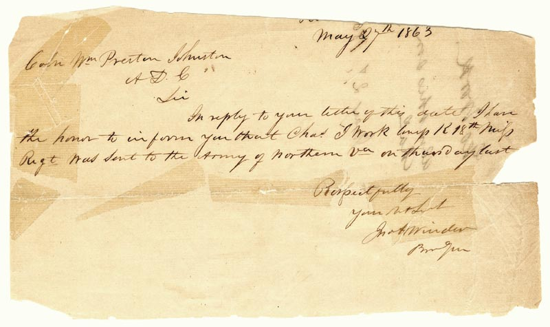 Image 1 for Brigadier General John H. Winder - Autograph Letter Signed 05/27/1863 - HFSID 265798