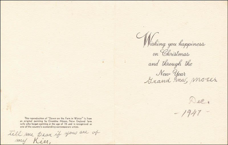 Image 1 for Grandma Moses - Christmas / Holiday Card Signed 12/1947 - HFSID 265821