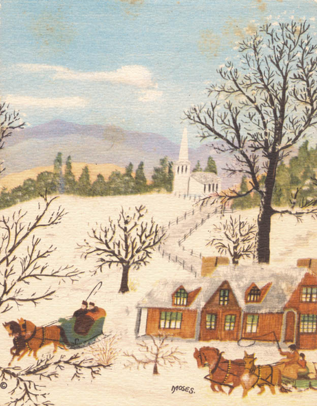 Image 3 for Grandma Moses - Christmas / Holiday Card Signed 12/1947 - HFSID 265821