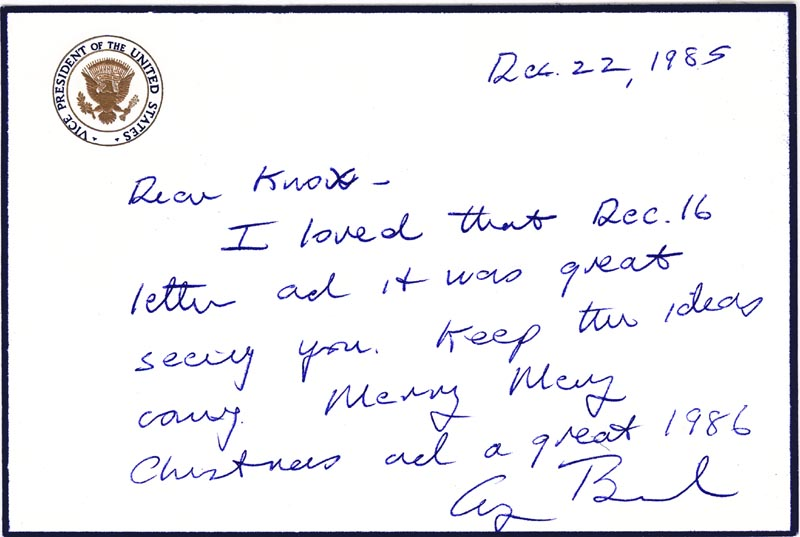 Image 1 for President George H.W. Bush - Autograph Letter Signed 12/22/1985 - HFSID 265834