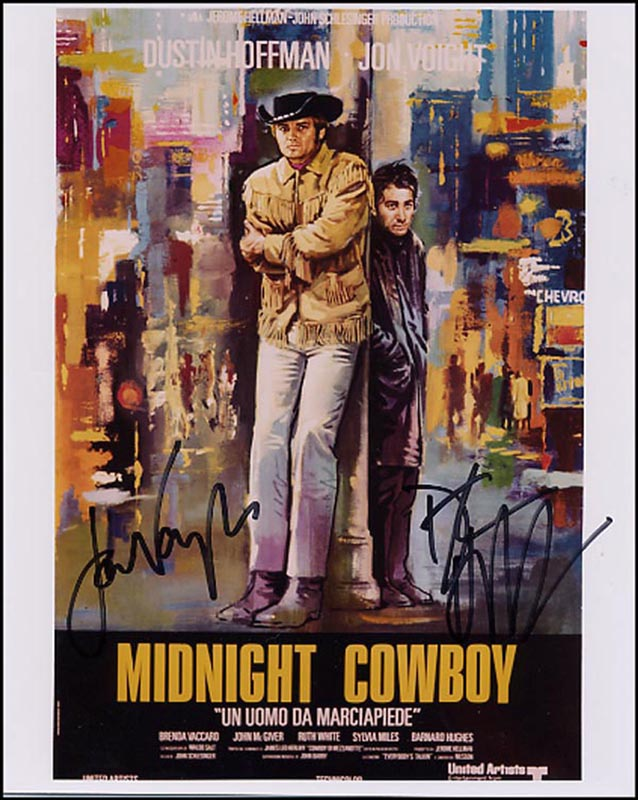 Image 1 for Midnight Cowboy Movie Cast - Autographed Signed Photograph co-signed by: Dustin Hoffman, Jon Voight - HFSID 265871