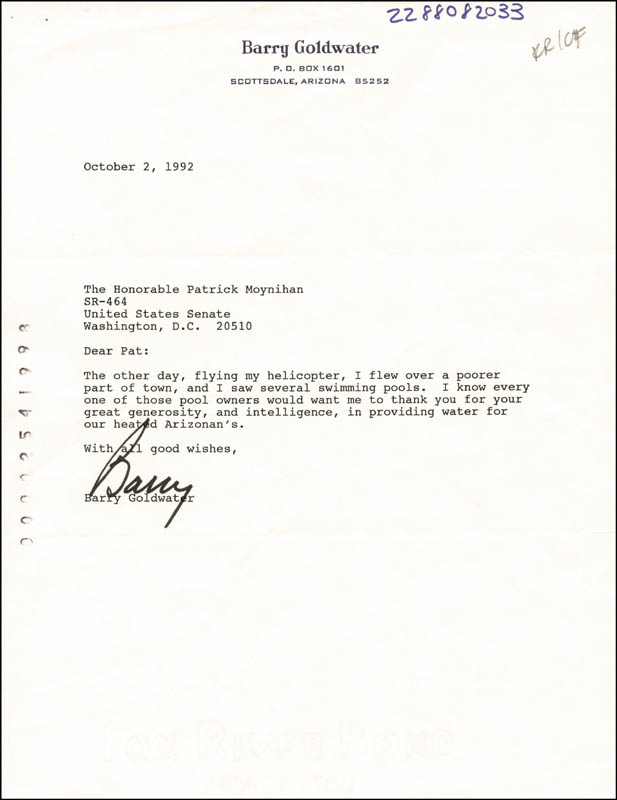 Image 1 for Barry Goldwater - Typed Letter Signed 10/02/1992 - HFSID 265914