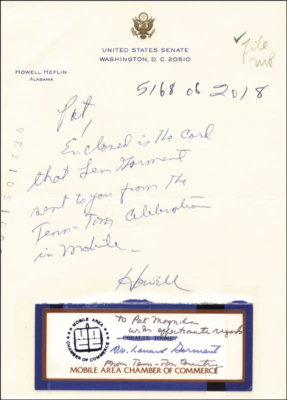 Image 1 for Howell Heflin - Autograph Note Signed co-signed by: Leonard Garment - HFSID 265956