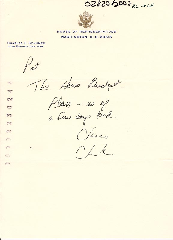 Image 1 for Chuck (Charles E.) Schumer - Autograph Note Signed - HFSID 266061