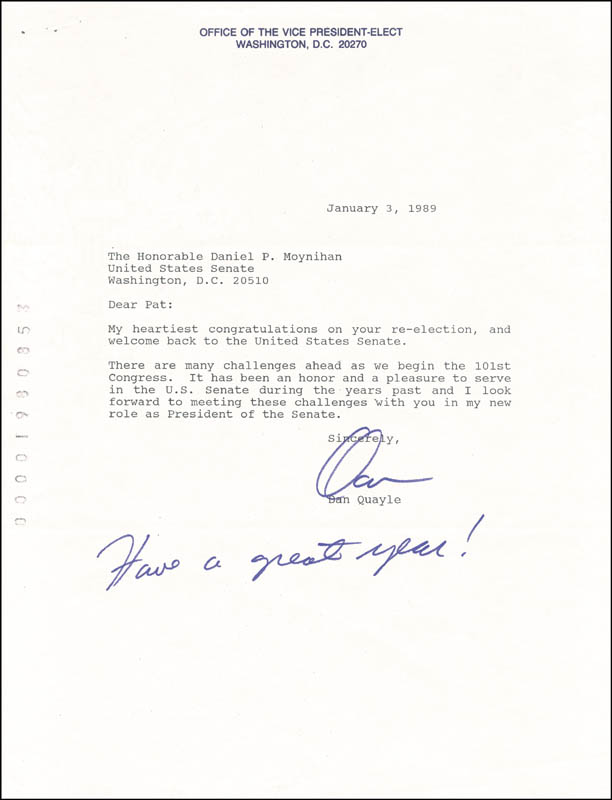 Image 1 for Vice President Dan (James Danforth) Quayle - Typed Letter Signed 01/03/1989 - HFSID 266089