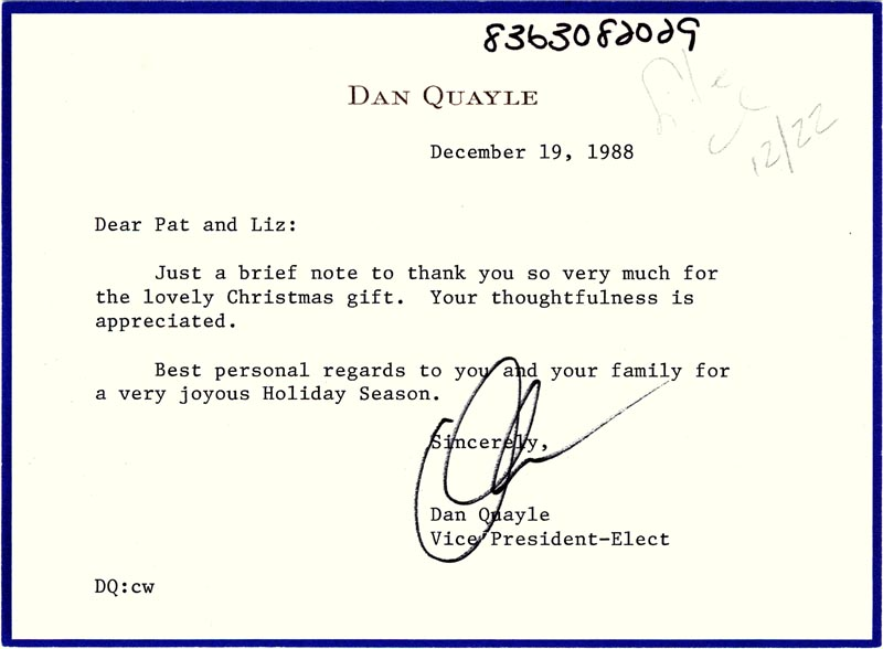 Image 1 for Vice President Dan (James Danforth) Quayle - Typed Letter Signed 12/19/1988 - HFSID 266090