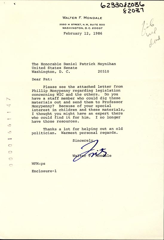 Image 1 for Vice President Walter F. Mondale - Typed Letter Signed 02/12/1986 - HFSID 266097