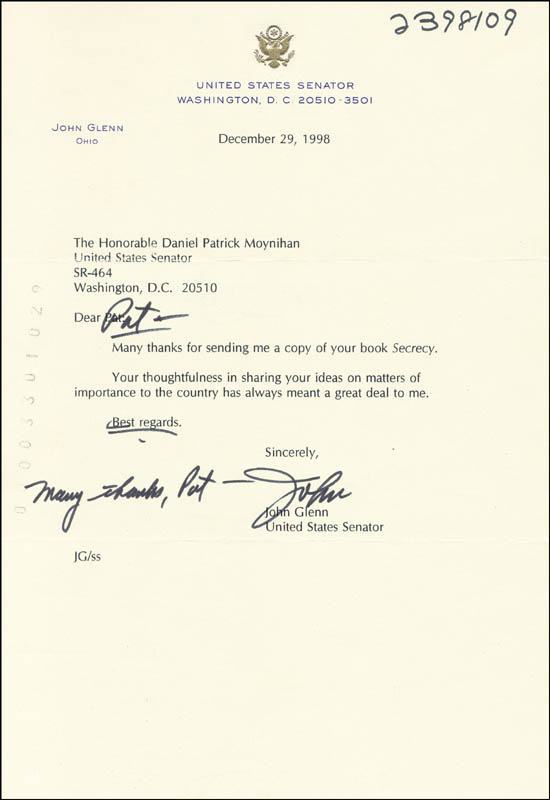 Image 1 for John Glenn - Typed Letter Signed 12/29/1998 - HFSID 266122