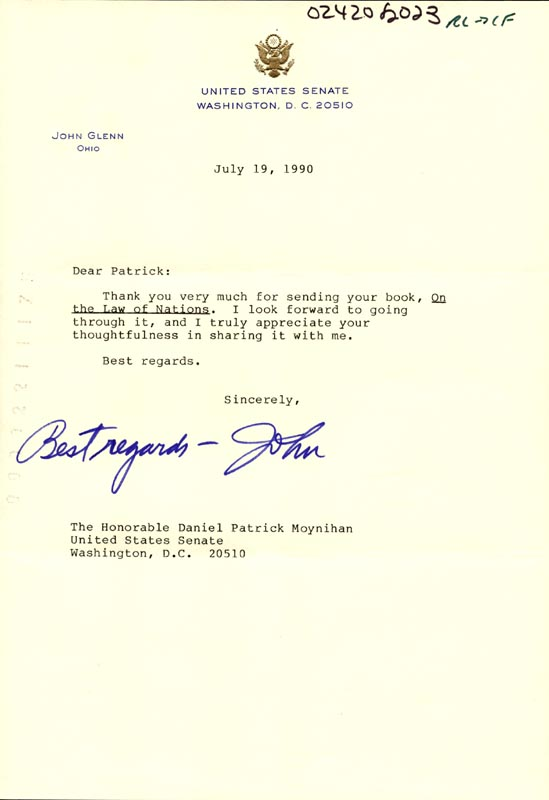 Image 1 for John Glenn - Typed Letter Signed 07/19/1990 - HFSID 266125
