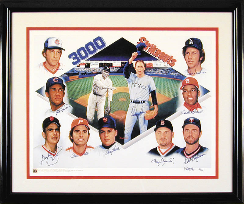 Image 1 for 3,000 Strikeouts - Printed Art Signed In Ink with co-signers - HFSID 266294