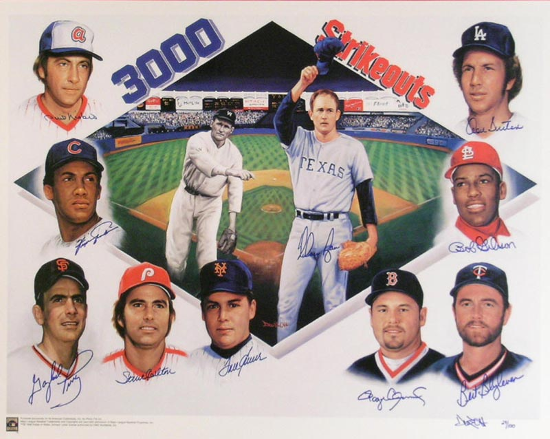 Image 3 for 3,000 Strikeouts - Printed Art Signed In Ink with co-signers - HFSID 266294