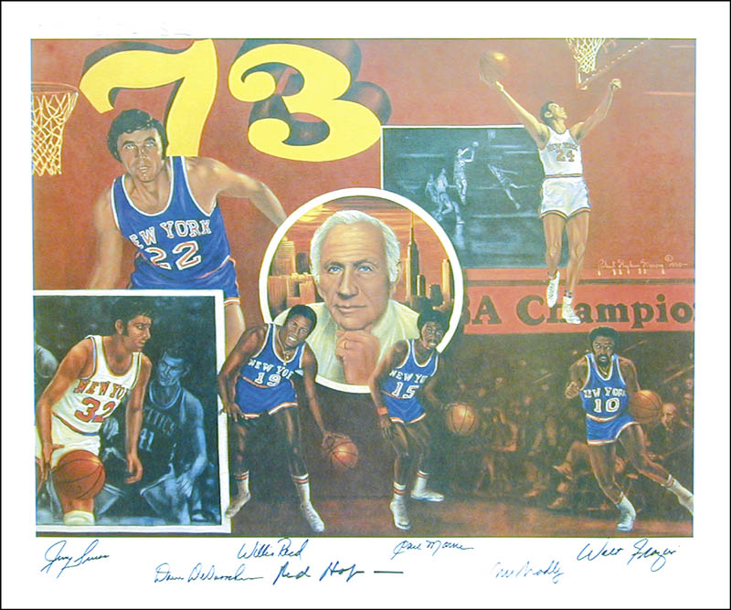 Image 1 for New York Knicks - Printed Art Signed In Ink with co-signers - HFSID 266298