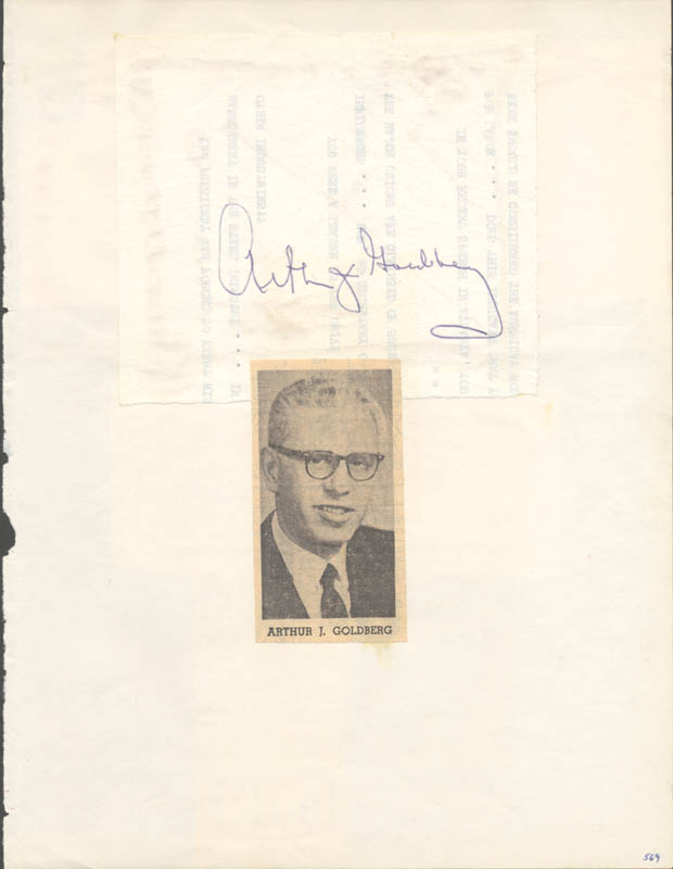Image 1 for Associate Justice Arthur J. Goldberg - Autograph co-signed by: Walter P. Mcconaughy, Hal Laycoe - HFSID 26637