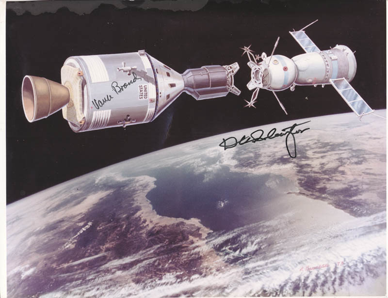 Image 1 for Apollo - Soyuz Crew - Autographed Signed Photograph co-signed by: Major Donald 'Deke' Slayton, Vance Brand - HFSID 266418