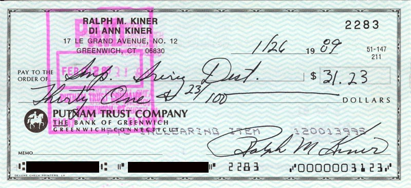 Image 1 for Ralph Kiner - Autographed Signed Check 01/26/1989 - HFSID 266426