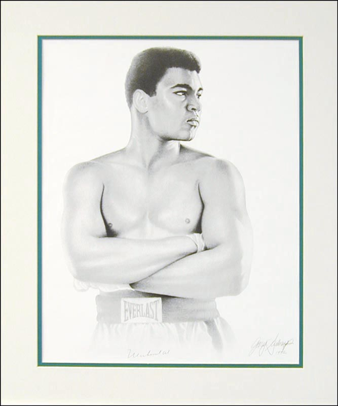 Image 1 for Muhammad 'The Greatest' Ali - Printed Art Signed In Ink Circa 1992 co-signed by: Gary Saderup - HFSID 266429