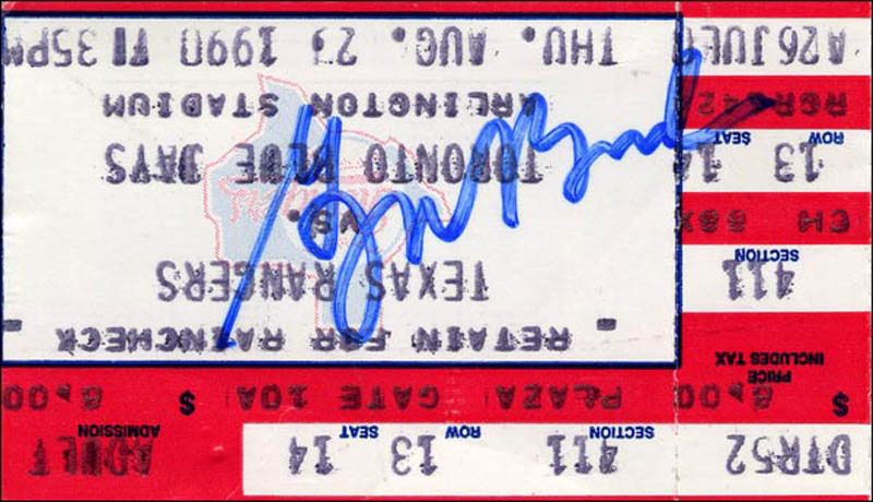 Image 1 for President George W. Bush - Ticket Signed Circa 1990 - HFSID 266523