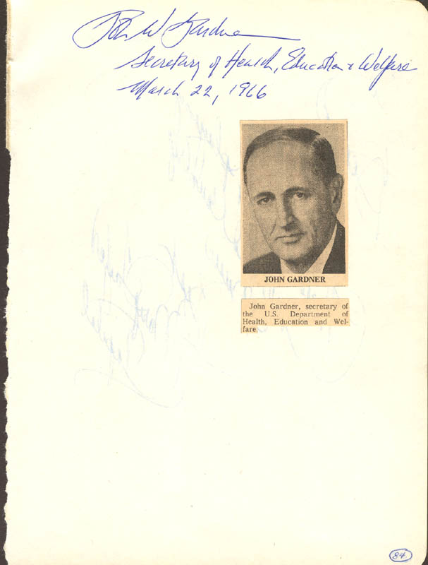 Image 1 for John W. Gardner - Autograph 03/22/1966 co-signed by: Mary Taylor - HFSID 26653