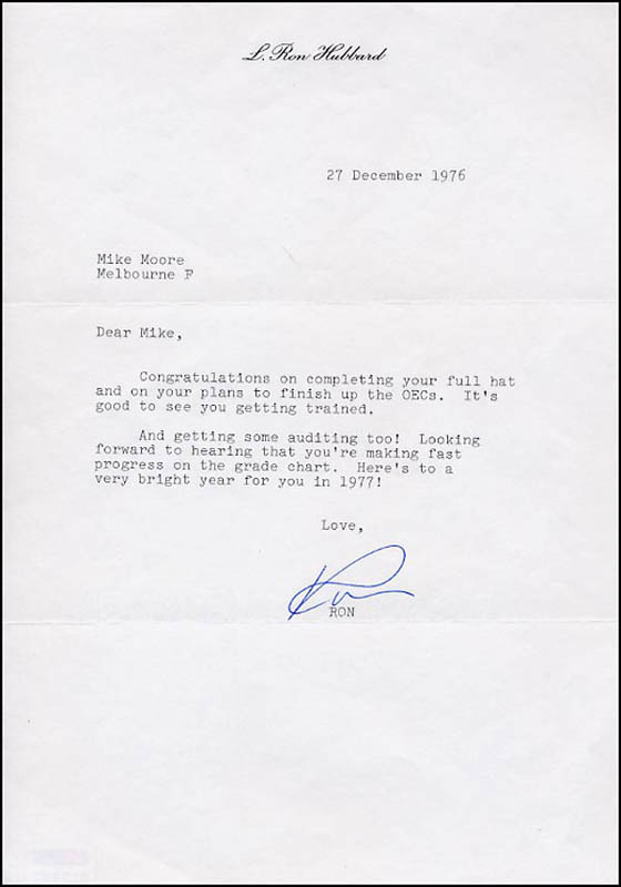 Image 1 for L. Ron Hubbard - Typed Letter Signed 12/27/1976 - HFSID 266548