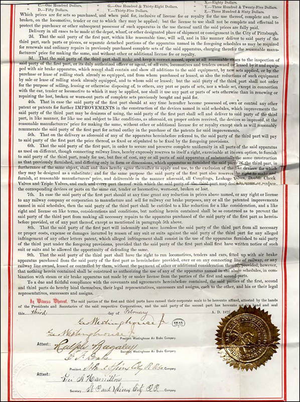 Image 3 for George Westinghouse Jr. - Contract Signed 02/03/1876 - HFSID 266566