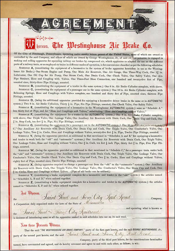 Image 4 for George Westinghouse Jr. - Contract Signed 02/03/1876 - HFSID 266566