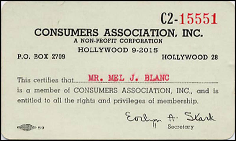 Image 3 for Mel Blanc - Document Signed - HFSID 266592