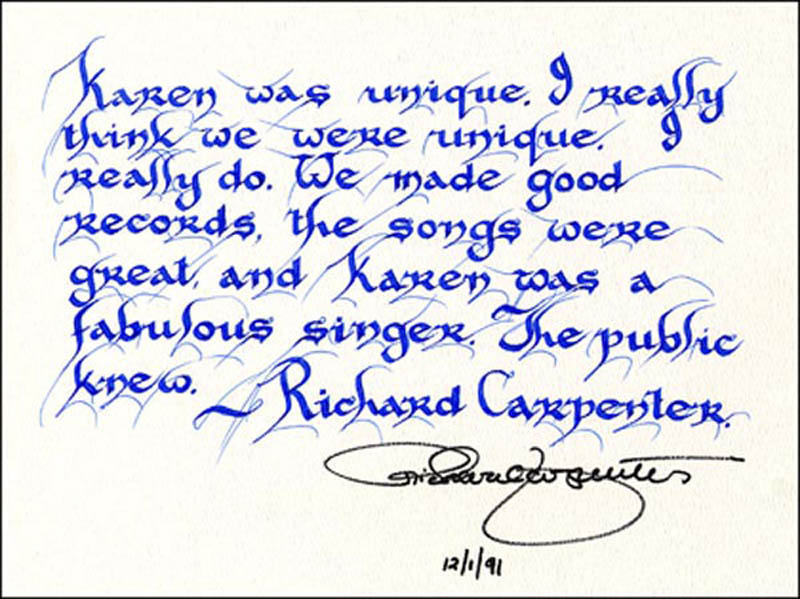 Image 1 for Richard Carpenter - Quotation Signed 12/01/1991 - HFSID 266601