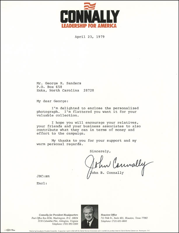 Image 1 for John B. Connally Jr. - Typed Letter Signed 04/23/1979 - HFSID 26661