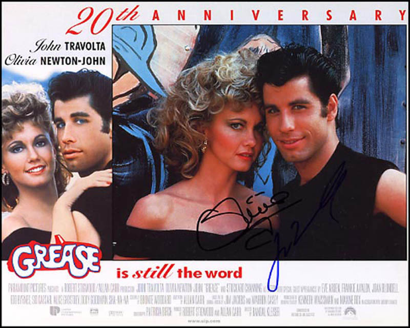 Image 1 for Grease Movie Cast - Lobby Card Signed co-signed by: John Travolta, Olivia Newton-john - HFSID 266694