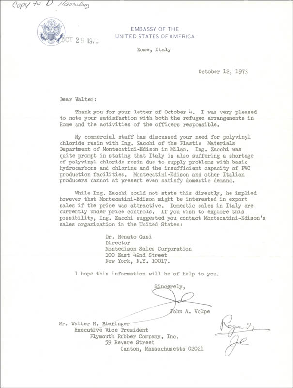 Image 1 for John A. Volpe - Typed Letter Signed 10/12/1973 - HFSID 26750