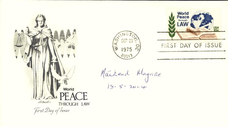 Image 1 for Mairead Corrigan Maguire - First Day Cover Signed 05/18/2004 - HFSID 267693