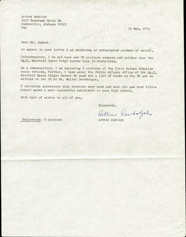 Image 1 for Arthur Rudolph - Typed Letter Signed 05/26/1971 - HFSID 268149