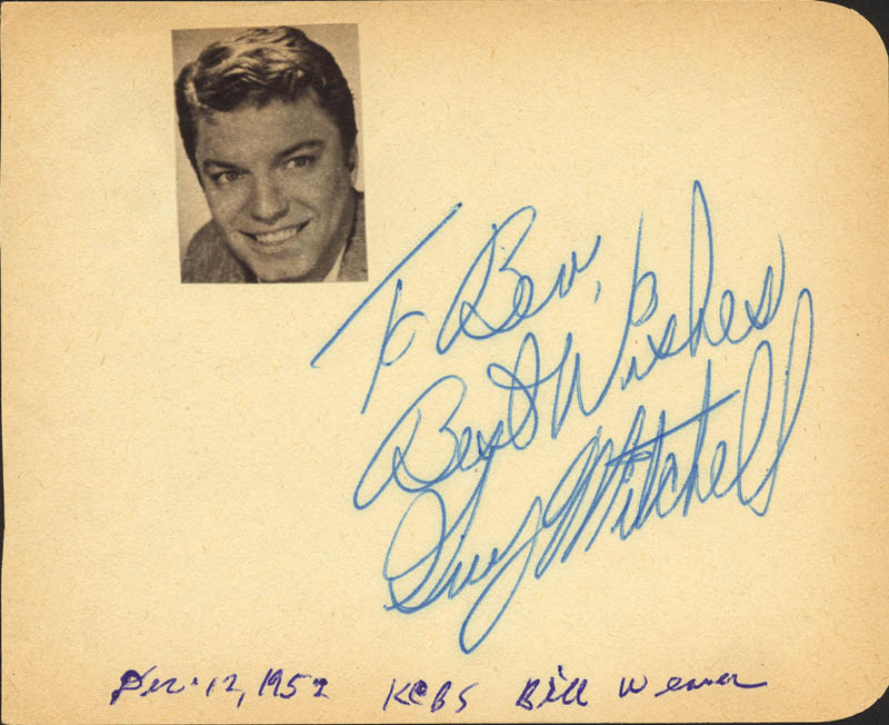 Image 1 for Guy Mitchell - Autograph Note Signed 12/12/1952 - HFSID 26829