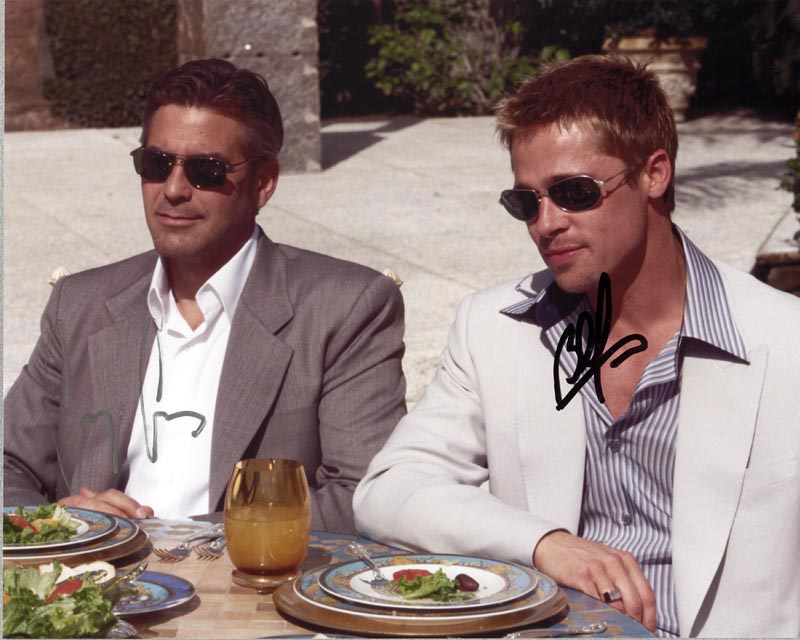 Oceans Eleven Movie Cast 2001 Autographed Signed Photograph Co Signed By George Clooney Brad Pitt Historyforsale Item 268345