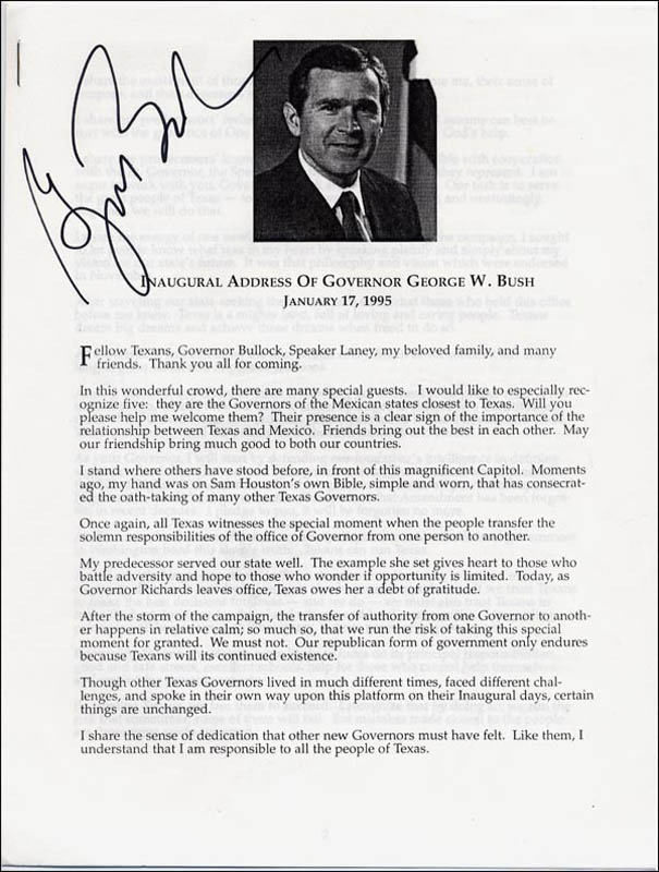Image 1 for President George W. Bush - Speech Signed Circa 1995 - HFSID 268432