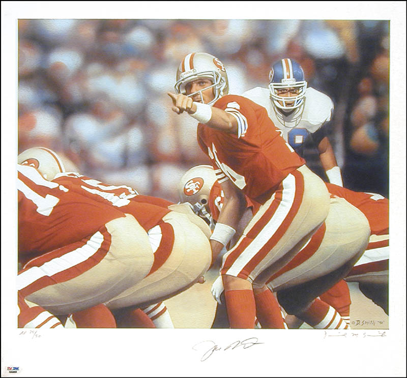 Image 1 for Joe Montana - Lithograph Signed Circa 1986 co-signed by: Daniel M. Smith - HFSID 268532