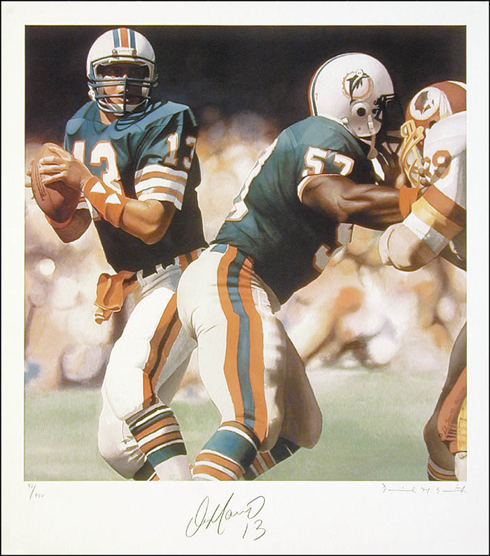 Image 1 for Dan Marino - Lithograph Signed Circa 1986 co-signed by: Daniel M. Smith - HFSID 268578