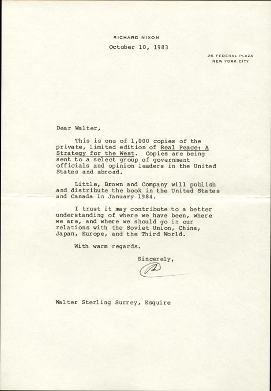Image 1 for President Richard M. Nixon - Typed Letter Signed 10/10/1983 - HFSID 268710