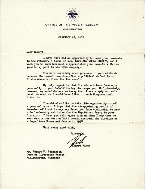 Image 1 for President Richard M. Nixon - Typed Letter Signed 02/18/1957 - HFSID 268939