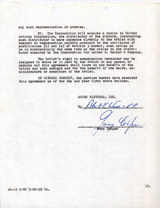 Image 1 for Return To Paradise Movie Cast - Document Signed 07/03/1952 co-signed by: Gary Cooper, Robert Wise - HFSID 269042