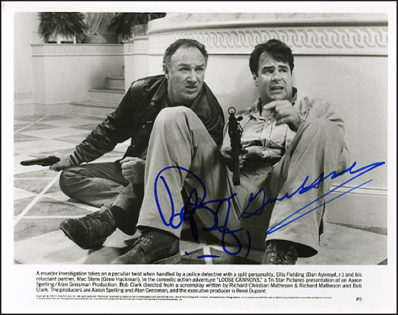 Image 1 for Loose Cannons Movie Cast - Printed Photograph Signed In Ink Circa 1990 co-signed by: Dan Aykroyd, Gene Hackman - HFSID 269048