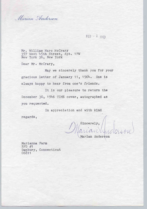 Image 1 for Marian Anderson - Typed Letter Signed 02/03/1963 - HFSID 269079