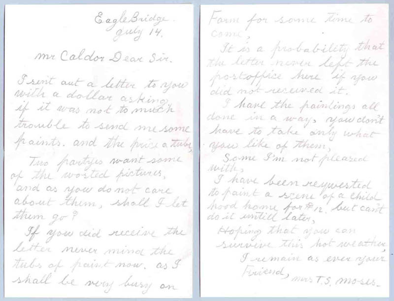 Image 1 for Grandma Moses - Autograph Letter Signed 07/14/1938 - HFSID 269085