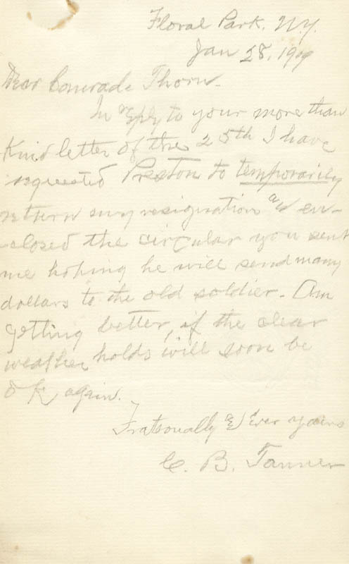 Image 1 for Charles B. Tanner - Autograph Letter Signed 01/28/1909 - HFSID 269169